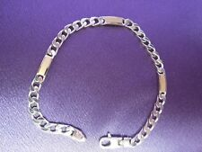 """Accent Curb Link Station Bracelet 8"""" Dobbs Sterling Silver & 18K Yellow Gold"""