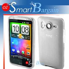 WHITE Soft Gel TPU Cover Case For HTC Desire HD + Film