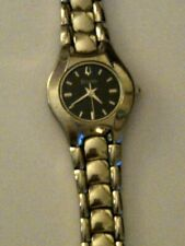 Bulova Silver-tone Ladies Watch w/ Black Face