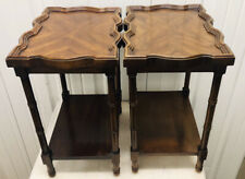 New listing Vintage Pair Of Brandt Wood End Tables Exotic Tiger Stripes Design Excellent