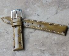 Short Length ostrich pattern 16mm Genuine Leather vintage watch strap 1960s/70s