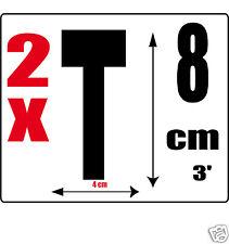 lot 2 lettres [T] Sticker autocollant noir hauteur 8cm Lettre adhésive en vinyle