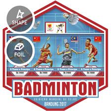 St. Thomas Prince 2017 Bandung Badminton Flag China Malaysia die-cut Sheetlet