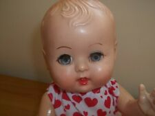 Vintage 1950S Hard Plastic Rosebud Baby Doll Wearing Sun dress & Bonnet FAB!!