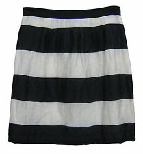 Ann Taylor Loft Straight Pencil Skirt Size 6 Black White Ivory Stripe Linen