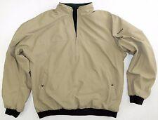 Footjoy Half Zip Reversible Nylon Fleece Golf Jacket Beige Green Mens XL