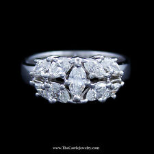 Gorgeous Marquise Diamond Cluster Ring w/ Polished Sides in White Gold