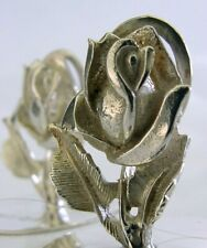 QUALITY PAIR OF STERLING SILVER ENGLISH ROSE MENU HOLDERS 1998-1999