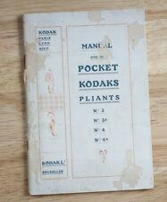 Kodak Pathe Pocket Kodak Pliants 3, 3A, 4 And 4A Instruction Book/cks/199997
