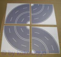 H0 - 8x Kurve Straße Beton grau Straßenfolie selbstklebend Breite 80mm