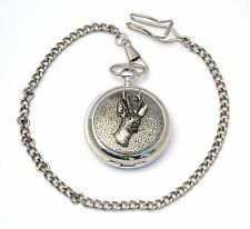 Roe Deer Design Pocket Watch Gift Boxed FREE ENGRAVING Roe Hunting Present