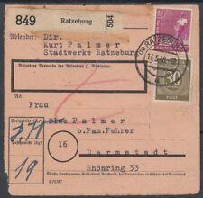 26843) RATZEBURG 1948 Paketkarte nach Darmstadt