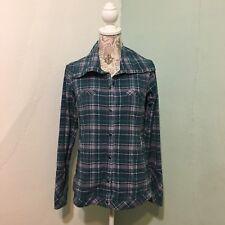 Women's Exofficio Long Sleeve Pearl Snap Shirt Top Plaid Green XS (0-2)