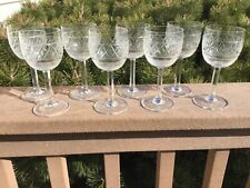 CUT GLASS SHERRY GLASSES SET OF (8) STAR & DIAMOND CUT PATTERN