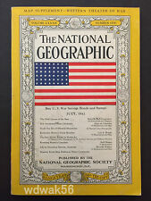 1942-07 JULY NATIONAL GEOGRAPHIC: AIRCRAFT CARRIERS-CAUCASUS-FIRST FLAG COVER