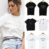 New Women Ladies Short Sleeve T Shirt Tops Blouse Heart Printed Casual Tee US