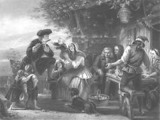 TRAVELLING MAN PLAYS FLUTE at COUNTRY FARM DINNER ~ Old 1872 Art Print Engraving