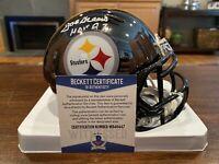 Joe Greene Autographed Pittsburgh Steelers Chrome Mini Helmet HOF 87 Beckett