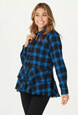 Joan Rivers Plaid Peplum Shirt with Fringe Hem Cobalt/Black Plus 20 NWT