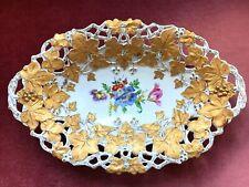 Prunkschale Durchbruchschale Meissen Blumenmalerei Goldmalerei Bowl Top Zustand