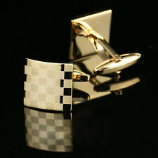 Stylish Quality Gold Pattern Square Steel Mens Shirt Cufflinks Wedding Party