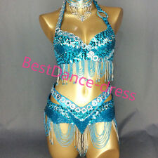 NEW Belly Dance Costume 2 pcs set Bra Top + Hip Belt Chain Sequins Dance School