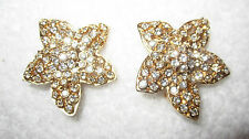 Vintage Ciner Rhinestone Flower Clip Earrings SIGNED Gold Tone --Superb!
