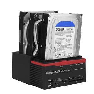 External Triple SATA IDE HDD Docking Station 2.5''/3.5'' Hard Drive Card Reader