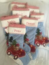 Pottery Barn Kids Firetruck Engine Blue Holiday Stocking HARD TO FIND NLA New