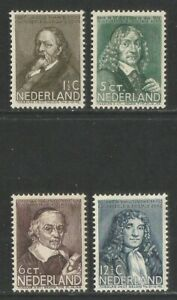 Netherlands 1937 Famous People semipostal--Attractive Topical (B94-97) MH