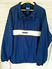 Adidas Chargers warmup pullover 2XL side zip/drawstring pockets blue/gold white