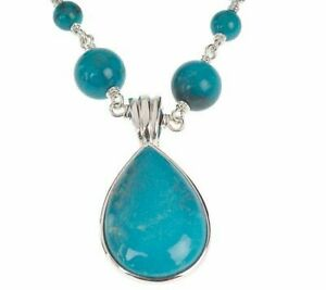 """QVC Sterling Silver 36"""" Turquoise Bead Necklace w/ Pear Shaped Enhancer"""