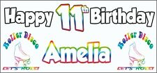 Retro Roller Skates Disco 11th Birthday Banner x 2 Party Decorations ANY NAME