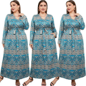 Boho Printed Women Dubai Loose Kaftan Long Maxi Dress Muslim Abaya Africa Jilbab