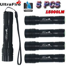 5PCS 15000LM 3 Modes T6 LED Flashlight Torch Lamp Zoomable Light Fit 18650 Top!