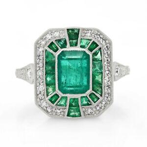 Emerald Platinum Diamond Ring Art Deco Handmade Certified Natural Antique Finish