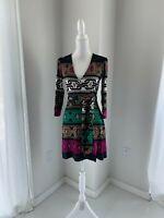 Diane Von Furstenberg Black Multi Chain Print Silk Jersey Wrap Dress SZ 6 S