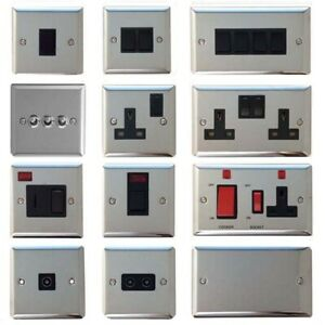 Volex Polished Chrome Light Switches and Electrical Sockets with Black Insert