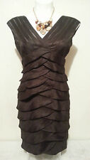 ADRIANNA PAPELL Brown Pleated Layer Dress Size 8P