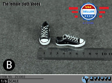1/6 scale Converse Lace Up BLACK Sneakers shoes for 12'' Female Figure Body
