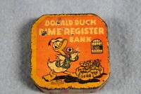 Vintage Donald Duck Dime Register Bank Toy Tin Coin Bank
