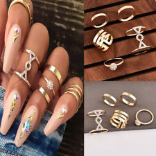 5Pcs/Set Crystal Gold Above Knuckle Fashion Finger Rings Vintage Boho Jewelry