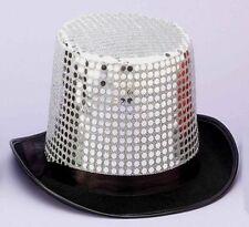 c3ae1dca7671f Silver Sequin Black Top Hat Dance Glitter Costume Accessory Jazz Felt  Theatre