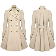 Womens Double Breasted Coat Winter Warm Long Trench Parka Jacket Peacoat Outwear