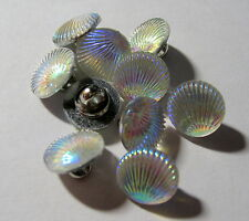 10 x Oyster Shell Shape WHITE AB Colour Shank Back Buttons 12mm Wide (B127)
