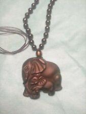 Natural Black Obsidian Mother Elephant Pendant Necklace Lucky Talisman Amulet