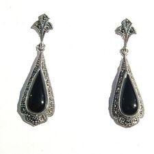 Art Deco Silver Large Black Onyx Marcasite Earrings