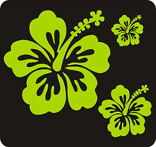 40 LIME GREEN HIBISCUS FLOWER STICKERS CAR WALL BEDROOM WINDOWS DECALS GRAPHICS