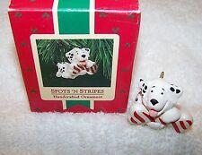 HALLMARK KEEPSAKE CHRISTMAS ORNAMENT 1987 SPOTS AND STRIPES HAPPY DOG SANTA TREE