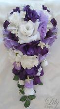 17pcs Wedding Bridal Bouquet Flowers Decorations Bride Silk Pew PURPLE LAVENDER